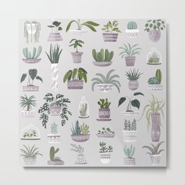 I Love Plants! Succulent Collection Metal Print