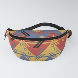 Red Blue Yellow Modern Abstract Aztec Pattern Fanny Pack