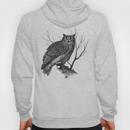 Great Cyclopean Owl - Black and White Hoody