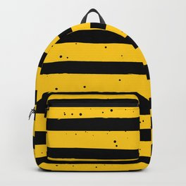 Black Yellow Vintage Stripes Pattern Backpack