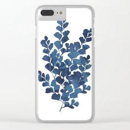 Blue watercolor maidenhair fern Clear iPhone Case