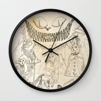 alice in wonderland Wall Clocks featuring Wonderland  by Jgarciat
