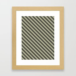 Cream Yellow and Black Diagonal LTR Var Size Stripes Framed Art Print