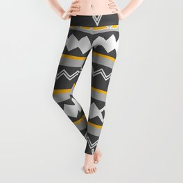 Gray stripes and native shapes Leggings