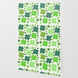 Saint Patrick's Day, Clovers - Green White Wallpaper