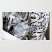 snow leopard Area & Throw Rugs featuring Snow leopard by Laura Grove