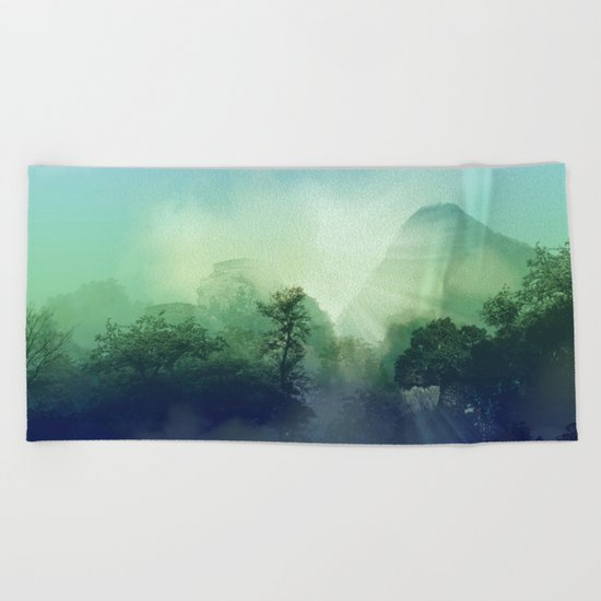 tropical green forest Beach Towel