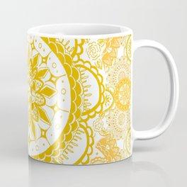 Orange Kaleidoscope Patterned Mandala Coffee Mug