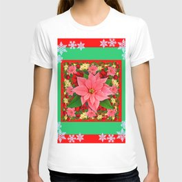 DECORATIVE SNOWFLAKES RED & PINK POINSETTIAS CHRISTMAS ART T-shirt
