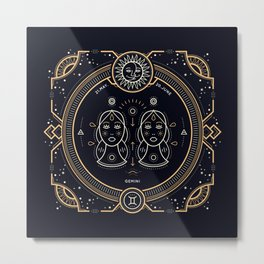 Gemini Zodiac Gold White on Black Background Metal Print