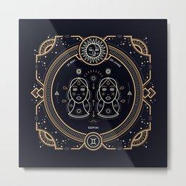 Gemini Zodiac Gold White on Black Background Metal Print
