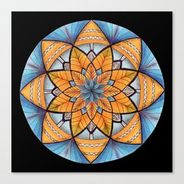 Sapphire-Gold Mandala (on black) Canvas Print