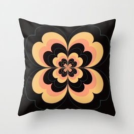Vintage Flower Design in Sherbet Pink and Buttery Yellow On Black Throw Pillow