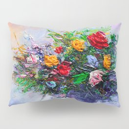 Oil painting a bouquet of flowers . Impressionist style 2 Pillow Sham