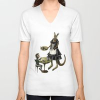 cafe V-neck T-shirts featuring Kangaroo cafe by Anna Shell