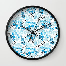 Arctic Blueberries with Black Dots and Pastel Colours Wall Clock