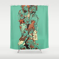 zombies Shower Curtains featuring Zombies by SarahRobbins