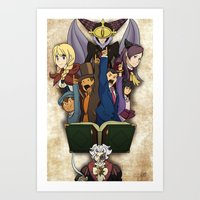 ace attorney Art Prints featuring Professor Layton vs. Ace Attorney by Kyra Draws