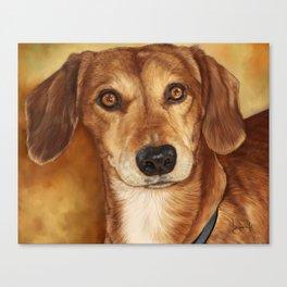 Dachshund Painting Portrait Canvas Print