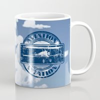 aviation Mugs featuring Retro Aviation Art by MacDonald Creative Studios