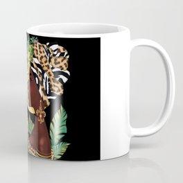 African woman,vase ,fashion art ,black background ,beautiful earrings. Coffee Mug