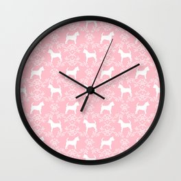 Chihuahua silhouette pink and white florals flower pattern art pattern dog breed Wall Clock