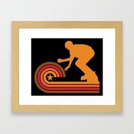 Retro Style Inline Skater Vintage Inline Skating Framed Art Print