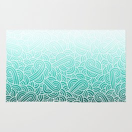 Faded teal blue and white swirls doodles Rug