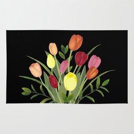 Tulips - black Rug