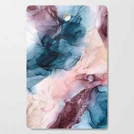 Pastel Plum, Deep Blue, Blush and Gold Abstract Painting Cutting Board