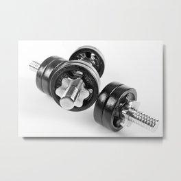 screwed hand barbells weights Metal Print