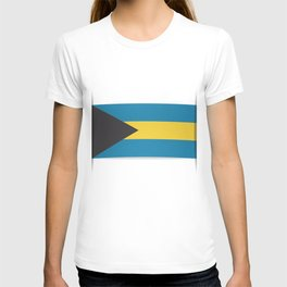 Flag of Bahamas. The slit in the paper with shadows. T-shirt