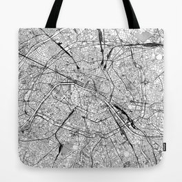 Paris White Map Tote Bag