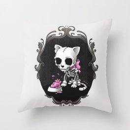 Bone Kitty Throw Pillow