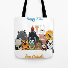 Happy kids love animals Tote Bag