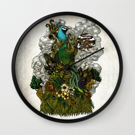 Floral Peacock Wall Clock