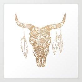 Gold Bull Skull Mandala Pattern Art Print