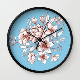 Line Flower Bouquet Wall Clock