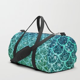 Mermaid Blue & Green Glitter Ombre Scales Duffle Bag