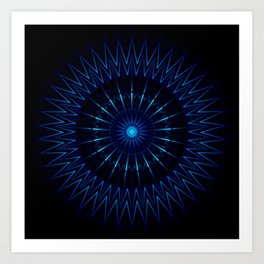 Blue Light Mandala Art Print