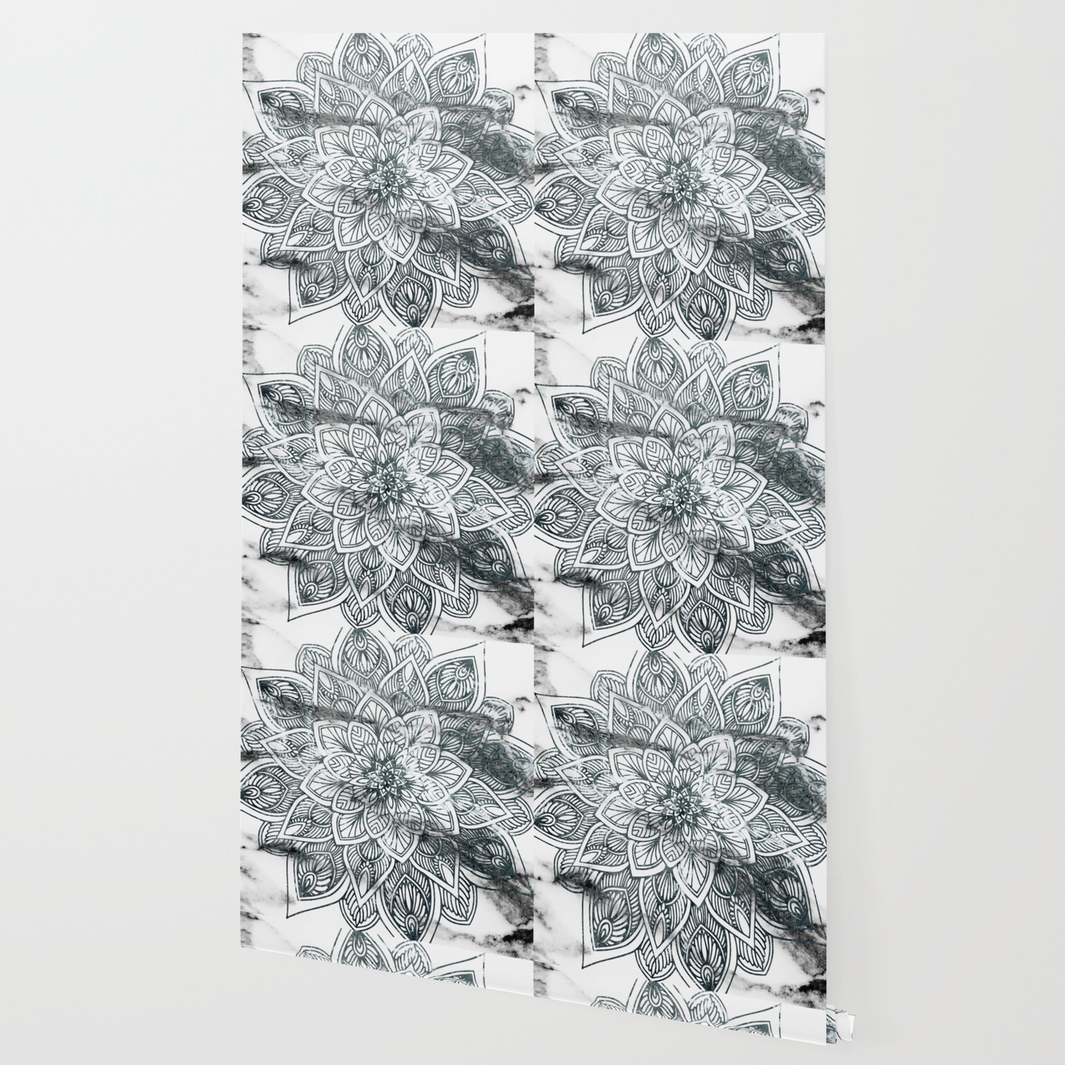 Indie Floral Mandla On White Marble Wallpaper By Cadinera Society6