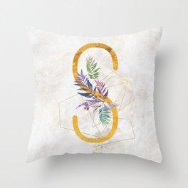 Modern glamorous personalized gold initial letter S, Custom initial name monogram gold alphabet prin Throw Pillow