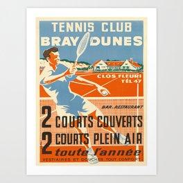 tennis club   bray dunes. circa 1950s  oude poster Art Print