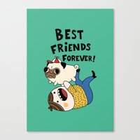 pug Canvas Prints featuring PUG by Jarvis Glasses