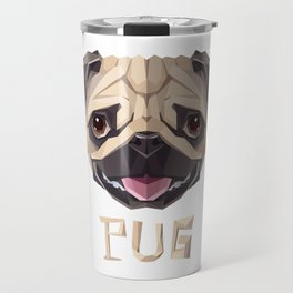Triangular Geometric Pug Head Travel Mug