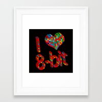 8 bit Framed Art Prints featuring i heart 8-bit by frederic levy-hadida
