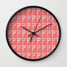 Capital Letter P Pattern Wall Clock