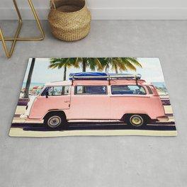 Pink Combi Van, Retro Camper Art Print By Synplus Rug