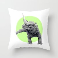 lizard Throw Pillows featuring Lizard by Stephanie Sekula