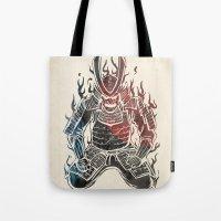 murakami Tote Bags featuring Samurai  by Mikio Murakami